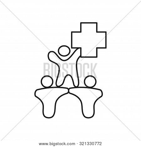 Cross Health Commitment Teamwork Together Outline Logo Vector