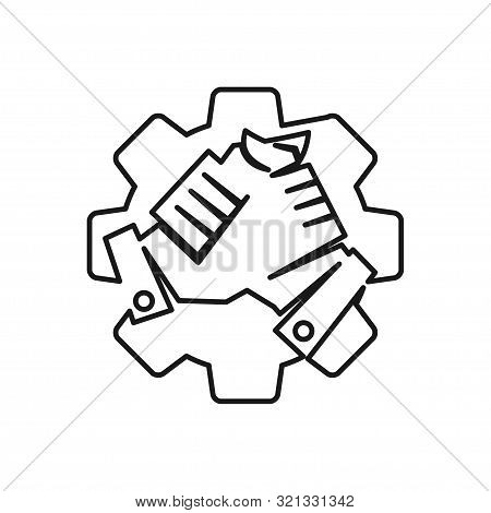Industry Gear Handshake Commitment Teamwork Together Outline Logo
