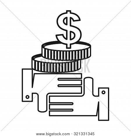 Stack Coin Money Commitment Teamwork Together Outline Logo