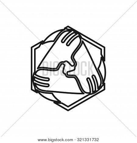 Triangle Hand Commitment Teamwork Together Outline Logo Vector