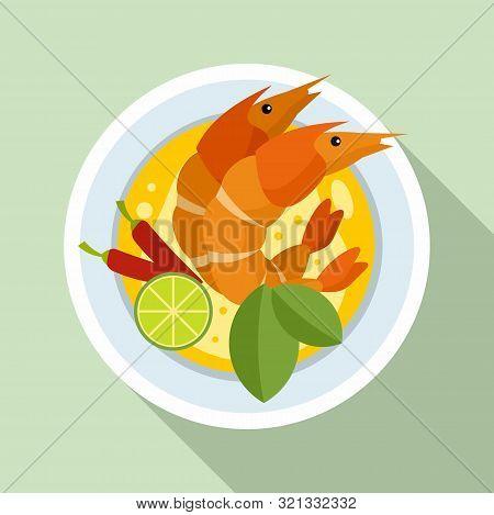 Boiled Shrimp Thai Icon. Flat Illustration Of Boiled Shrimp Thai Vector Icon For Web Design