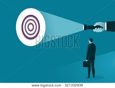 Uncovering Goal. A Hand Holding A Flashlight Uncovering Hidden Target. Business Concept. Vector Illu