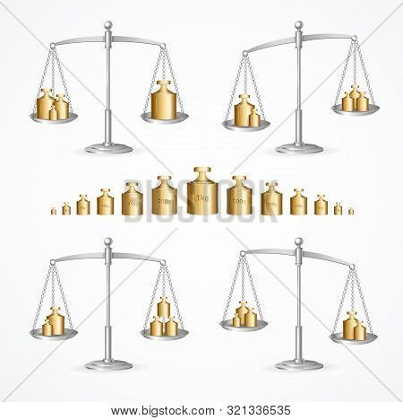 Realistic Detailed 3d Calibration Weight Laboratory And Scales Set. Vector Illustration Of Objects F