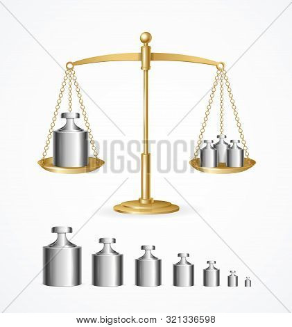 Realistic Detailed 3d Calibration Weight Laboratory And Yellow Scales Set. Vector Illustration Of Ro