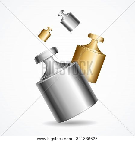 Realistic Detailed 3d Flying Calibration Weight Laboratory On A White Background For Ad. Vector Illu