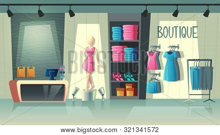 Clothing Shop Interior - Wardrobe With Woman Clothes, Cartoon Mannequin And Stuff On Hangers. Cashbo