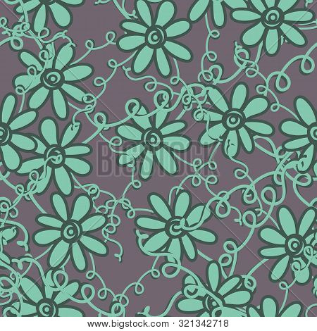 A Seamless Vector Pattern With Flowersandtangled Vines In Patina Green Color. Surface Print Design.