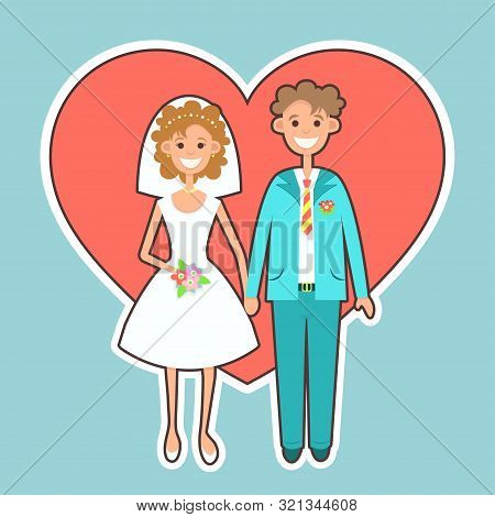 Bride And Groom Sticker, Icon, Flat Drawing, Cartoon Character, Vector Illustration. Picture Newlywe