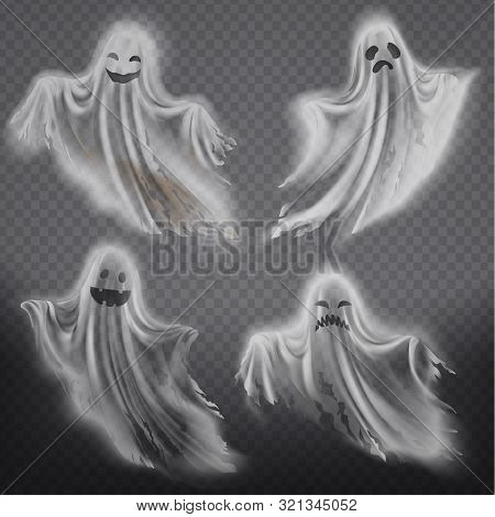 Set Of Translucent Ghosts - Happy, Sad Or Angry, Smiling Phantom Silhouettes Isolated On Background.