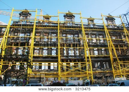 Restoration Of Facade Of Gutted Building  In Brussels, Belgium