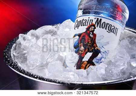 Bottle Of Captain Morgan Rum In Bucket With Crushed Ice