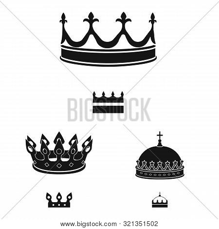 Isolated Object Of King And Majestic Sign. Set Of King And Gold Stock Vector Illustration.