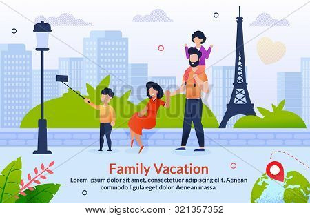 Tour Abroad On Family Vacation Motivation Poster. Travel To Europe. Cartoon Father, Mother And Child