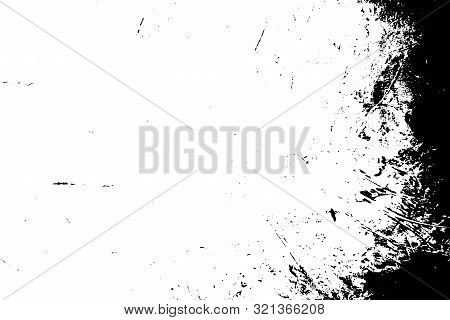 Brushed Black Paint Cover. Distress Urban Used Texture. Grunge Rough Dirty Background. Overlay Aged