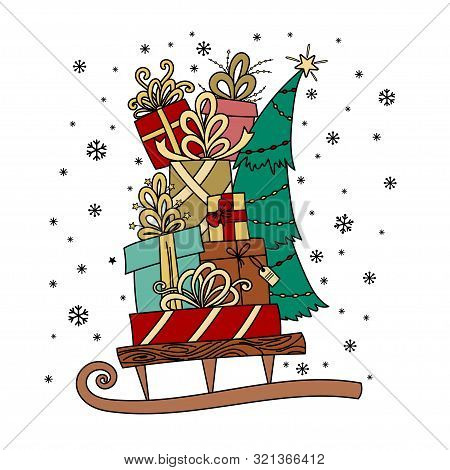 Merry Christmas Greeting Card. Pile Of Holiday Presents On The Sleigh. Christmas Decoration, Cartoon