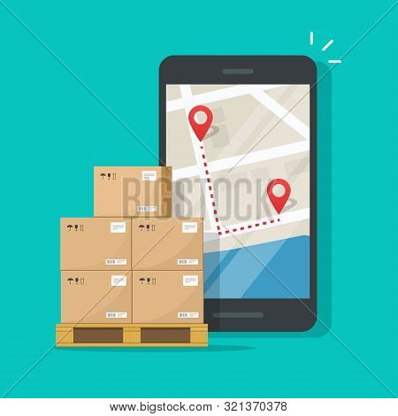 Freight Or Cargo Delivery Tracking Or Navigation Route On Mobile Phone Vector Illustration, Flat Car