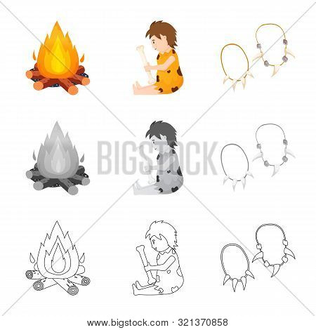 Vector Design Of Evolution And Neolithic Logo. Collection Of Evolution And Primeval Stock Vector Ill