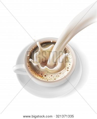 A Cup Of Coffee With A Splash Of Milk. Vector Illustration On White Background.