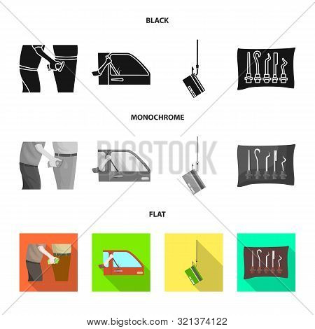 Isolated Object Of Crime And Steal Symbol. Set Of Crime And Villain Vector Icon For Stock.