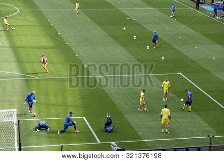 Lyon, France - June 16, 2016: Training Session Of Ukraine National Football Team Players Before Uefa