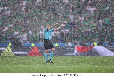 Lyon, France - June 16, 2016: Referee Pavel Kralovec (cze) In Action During The Uefa Euro 2016 Game