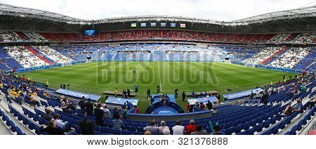 Lyon, France - June 16, 2016: Panoramic View Of Stade De Lyon Stadium (parc Olympique Lyonnais Stadi