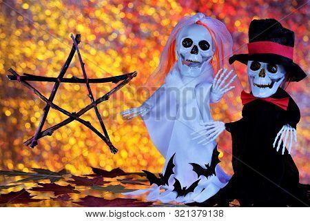 Ghosts Skeletons, Pentagram-happy Halloween Holiday Evil Spirits. Halloween Autumn Main Holiday Of E