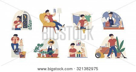 Man At Maternity Leave Flat Vector Illustrations Set. Single Father With Infant Cartoon Characters P