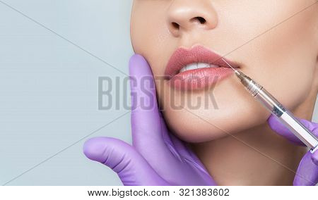 Cropped Sensual Female Lips, Procedure Lip Augmentation. Syringe Near Womans Mouth, Injections For I