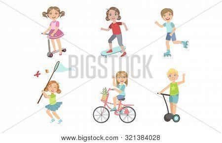 Kids Summer Outdoor Activities Set, Cute Boys And Girls Riding Bike, Rollers, Kick Scooter, Skateboa