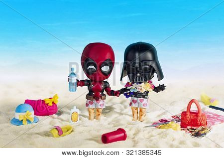 Magnitogorsk, Russia - August 26, 2019: Darth Vader And Deadpool Movie Figurines On Vacantion, Which