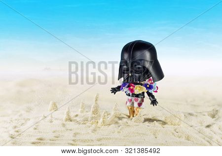 Magnitogorsk, Russia - August 26, 2019: Darth Vader Movie Figurine On Vacantion, Which Represents Ch