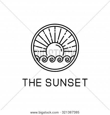 Sunset Design Line Art Isolated White Background. Sunset Vector Illustration. Sunset Design Line Art