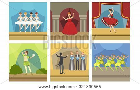 Actors Performing On Stage Set, Music Concert With Opera Singers And Ballet Dancers, Theatrical Stag