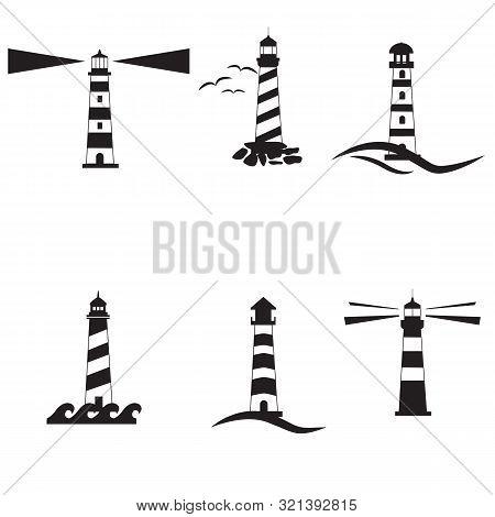 Set Lighthouse Icon On White Background. Flat Style. Nautical Icon For Your Web Site Design, Logo, A