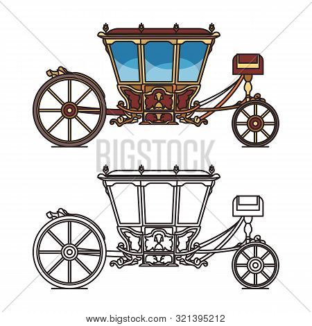 Vintage chariot for wedding, retro horse carriage poster