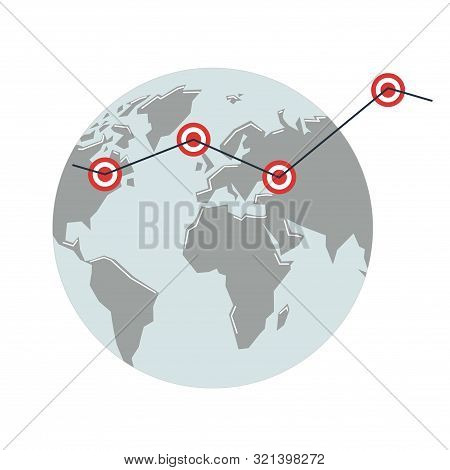 Globe With Key Points. Growth Graph On The Background Of The Map Of The Mainland.