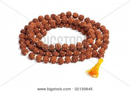 Buddhist or Hinduist Japa mala (prayer beads) made of rudraksha isolated poster