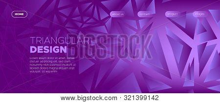 Vibrant Landing Page. Vector Polygon Background. Gradient Geometric Shapes. Futuristic Minimal Poste