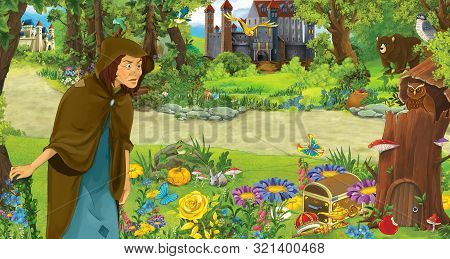 Cartoon Scene With Happy Old Woman Witch Sorceress In The Forest Encountering Pair Of Owls Flying -