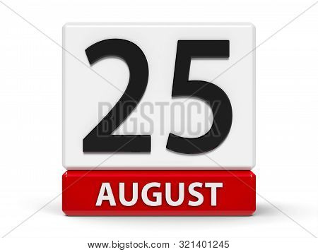 Red And White Calendar Icon From Cubes - The Twenty Fifth Of August - On A White Table, Three-dimens
