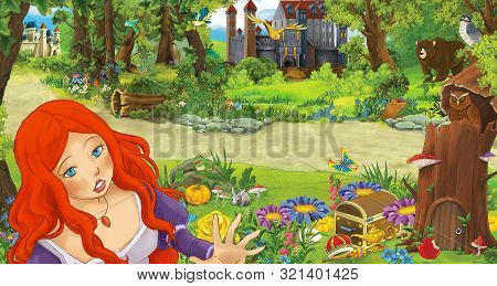 Cartoon Scene With Young Girl Princess In The Forest Near Some Castles In The Forest - Illustration