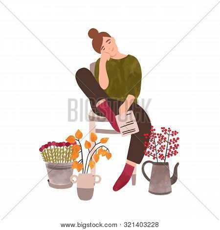 Young Woman With Flowers Flat Vector Illustration. Female Florist Cartoon Character. Smiling Lady An