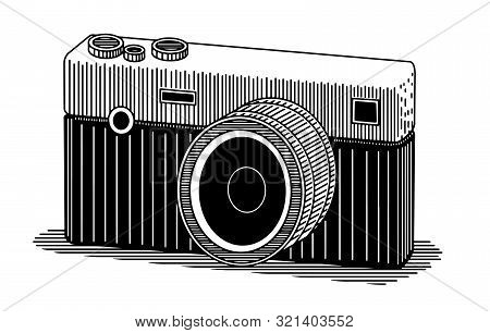 Illustration Of An Isolated Slr Camera Isolated On White.