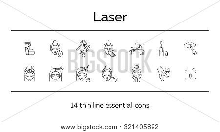 Laser Line Icon Set. Cream, Hairdressing, Makeup, Injection. Beauty Care Concept. Can Be Used For To