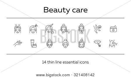 Beauty Care Line Icon Set. Woman, Cream, Hairdressing. Beautician Concept. Can Be Used For Topics Li