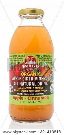 Winneconne, Wi - 10 September 2019: A Bottle Of Bragg Apple Cider Vinegar Drink With Cinnamon On An