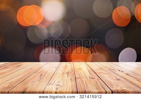 Wood Table Top Counter On Night City Lights Bokeh Background, Lights Blurred Bokeh Blurred Backgroun