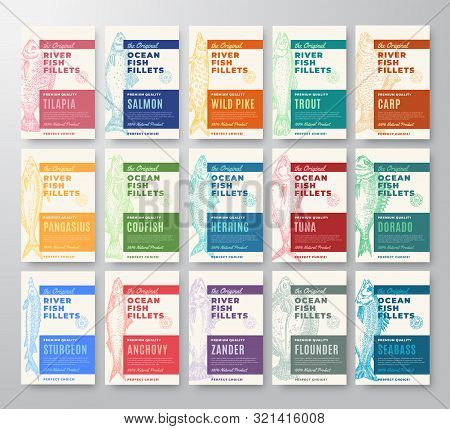 Premium Quality Fish Fillets Labels Bigger Set. Abstract Vector Fish Packaging Design Or Cards. Mode
