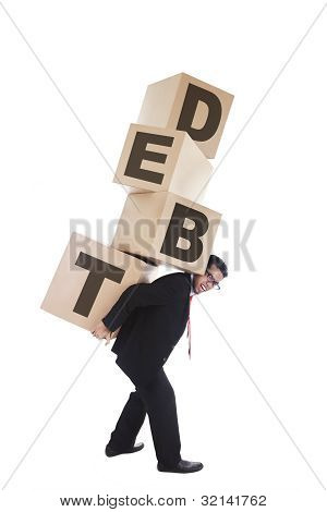 Isolated Asian Businessman Carrying Debt